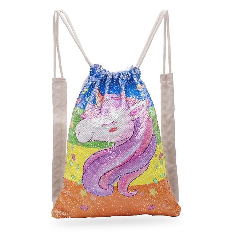 Satın Al Unicorn Boyama Ipli çanta Sequins Mermaid Sırt çantası
