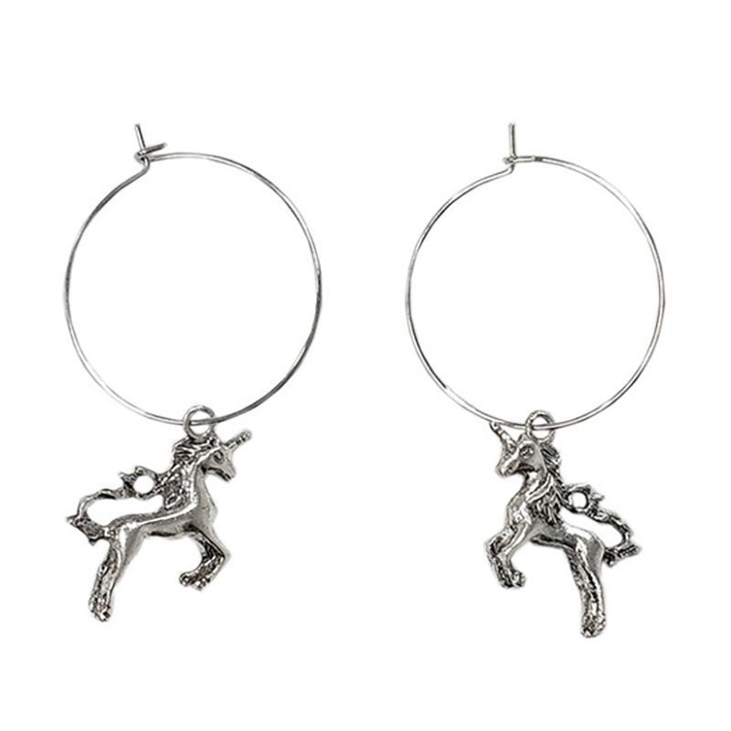 2019 New Retro Animal Unicorn Rabbit Mermaid Fish Tail Hoop Earrings