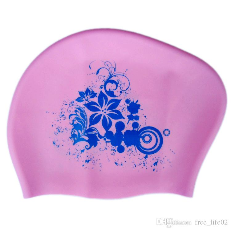 6a54a07686f 2019 Wholesale 100% Silicone Swimming Cap For Long Hair Women Waterproof  Swim Caps Ladies Diving Hood Hat For Kids Garras Natacion Casquette From ...