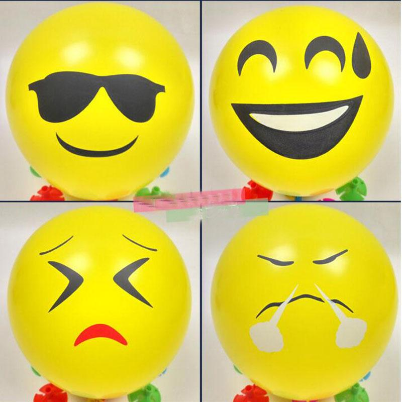 Emoji Universe Cartoon Balloons Latex Smiley Face Party Birthday Yellow Baloon Hat Supplies For
