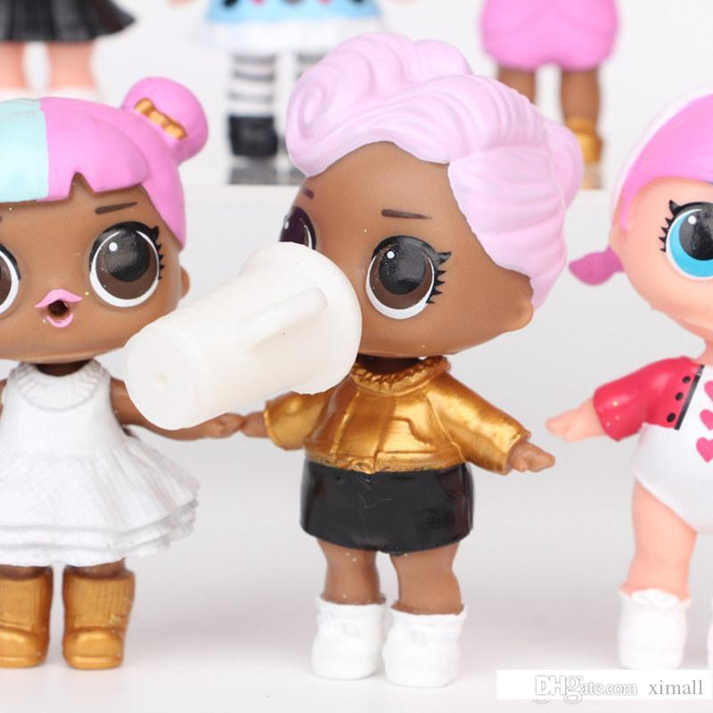 9CM LoL Doll with feeding bottle American PVC Kawaii Children Toys Anime Action Figures Realistic Reborn Dolls for girls