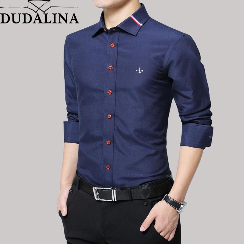 100% authentic 8cbac 12b40 Slim 2018 Lunga Affari Manica D Uomo Fit Camicia Oxford ...