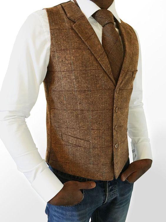 2019 Vintage Brown Checked Tweed Vest Men Suit Vest Slim