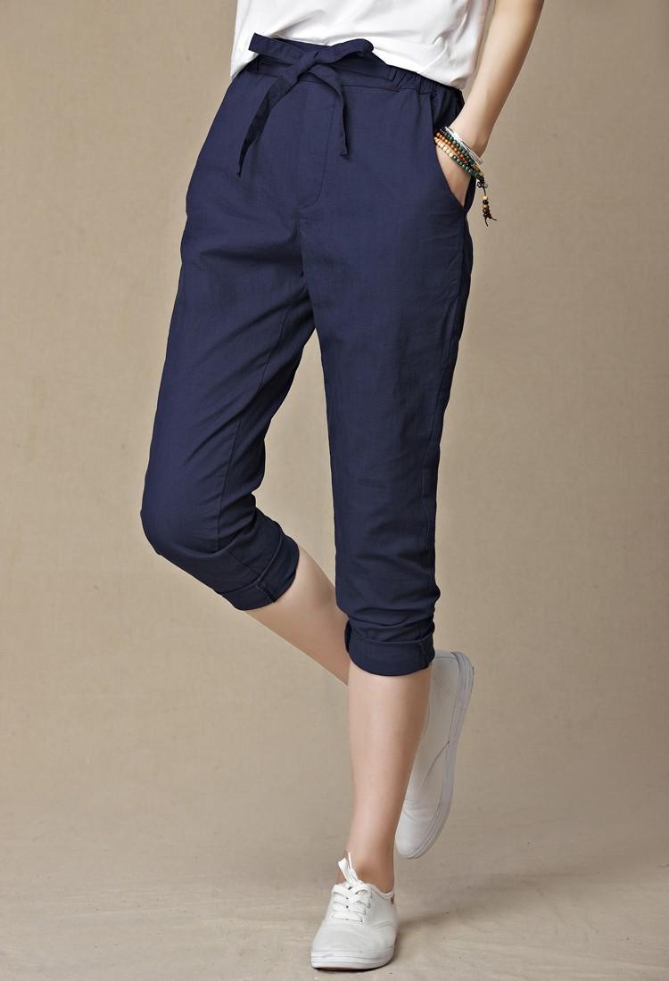 Women Loose Original Design Vintage Linen Female Dazzling Female Drawstring Pants Pure Capris Harem Trousers