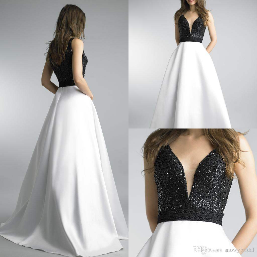 2018 Black And White Long Prom Dresses With Straps V Neck Beaded Top ...