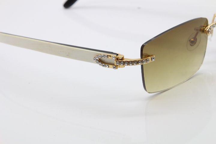 2020 новый без оправы меньшие большие камни 3524012 белый внутри черный рог буйвола солнцезащитные очки Limited edition солнцезащитные очки 18K Gold Hot Eyeglasses