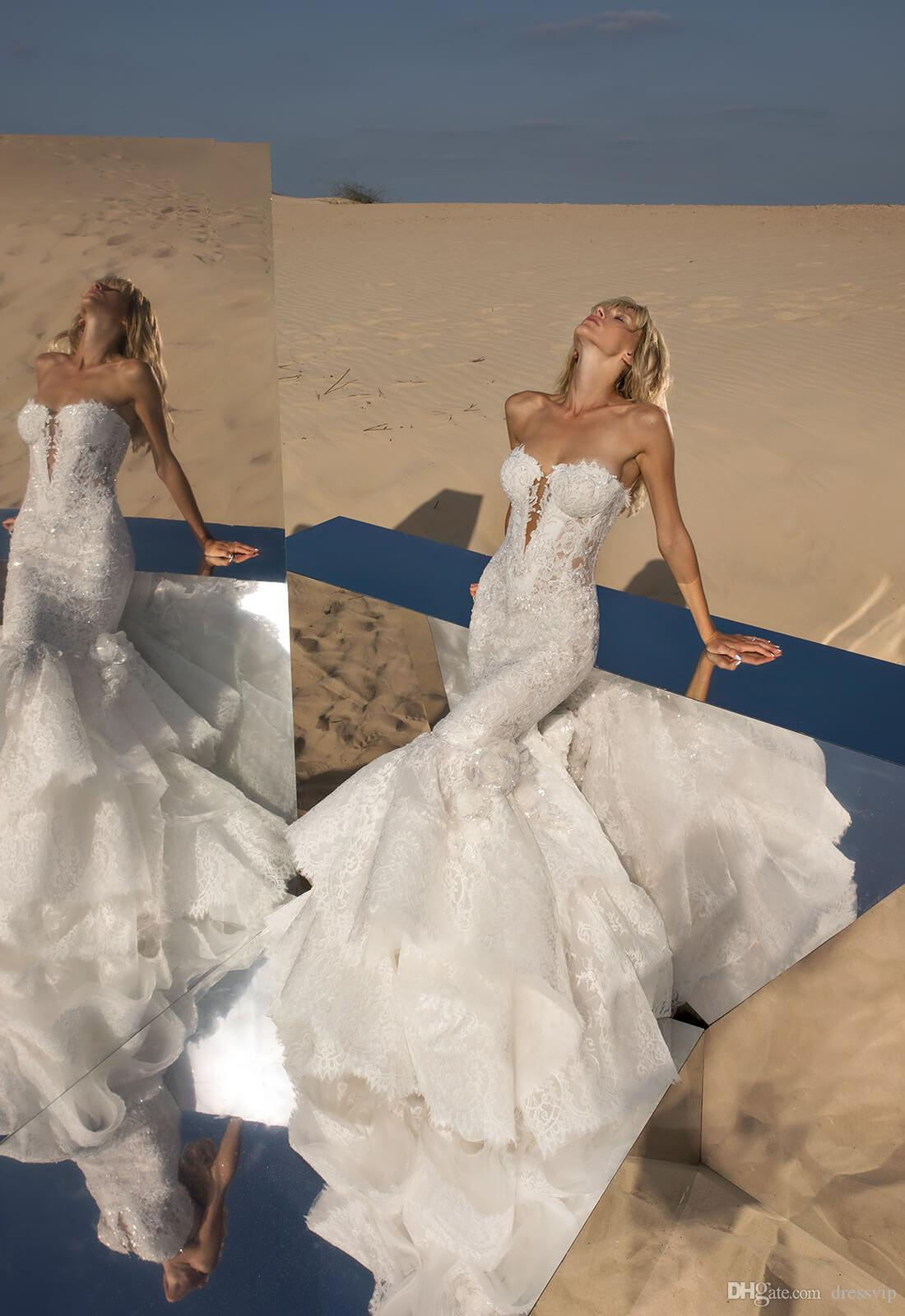 2018 Pnina Tornai Mermaid Wedding Dresses Sweetheart Lace Tulle Applique Sweep Train Sexy Beach Bridal Dress Backless Lace Up Wedding Gowns