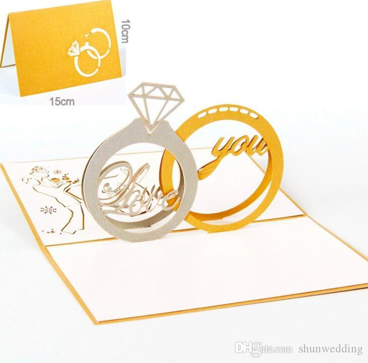 3d Pop Up Handmade Greeting Cards Diamond Ring Creative Gifts
