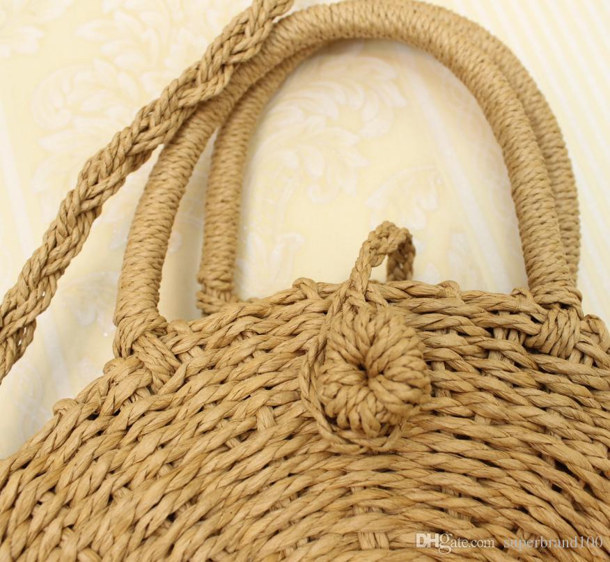 Frauen Handgemachte Runde Strand Umhängetasche Bali Kreis Stroh Taschen Sommer Gewebt Rattan Handtaschen Frauen Umhängetasche INS Beliebt