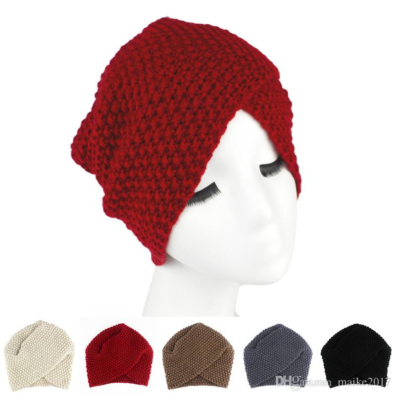 9034fc8efd9 New Style Winter Popular Knitted Hat Pure Hand Wool Crocheted Indian Hat  Men s And Women s Wool Corn Cob Cap Cross Headband Sport Hair Band Headband  Online ...