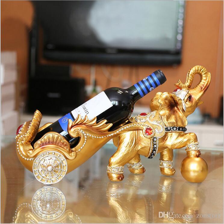 الفاخرة الذهب والفضة أصحاب النبيذ يدوية الحصان تمثال الفيل التماثيل الجدول الفن رفوف للديكور المنزل