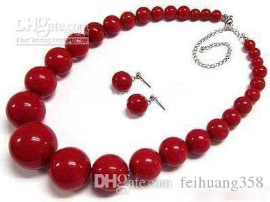 """6-14mm Red Coral Tower Round Beads 18"""" Necklace Earrings"""