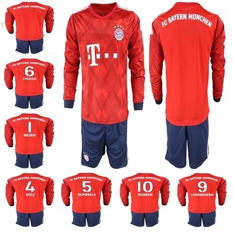 size 40 ec917 c8214 Long Sleeve Bayern JAMES RODRIGUEZ Soccer jersey 2018 2019 LEWANDOWSKI  MULLER KIMMICH jersey 18 19 HUMMELS Football uniforms set
