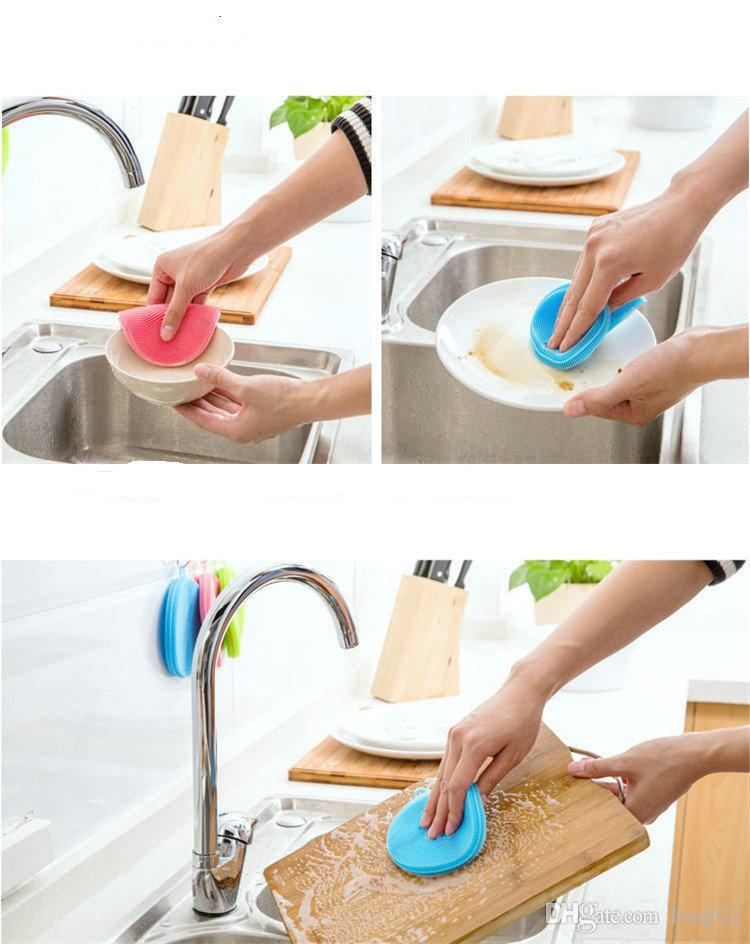 Magic Silicone Dish Bowl Cleaning Brushes Scouring Pad Pot Pan Wash Brushes Cleaner Kitchen KKA1138