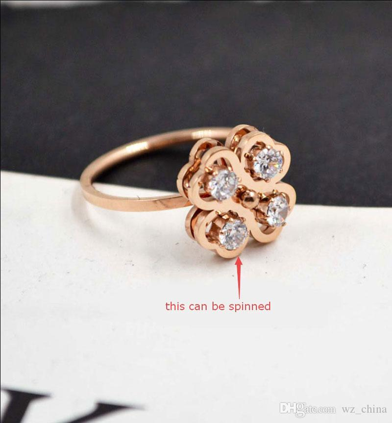316L Stainless Steel Rings For Women 4 Big Diamond Stone Flower Can Be Spinned Women Open Wedding Ring New Hot With Jewlery Box