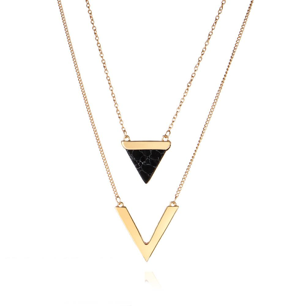 d19bc26453c 2019 Natural Black White Stone Choker Necklace Women Gold Color Letter V  Pendant Multi Layer Necklace Bijoux Collier Femme From Yuijin