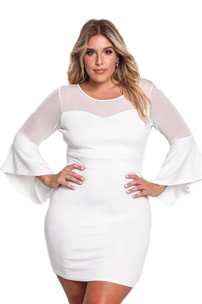Plus Size White Dress with Sleeves – Fashion dresses
