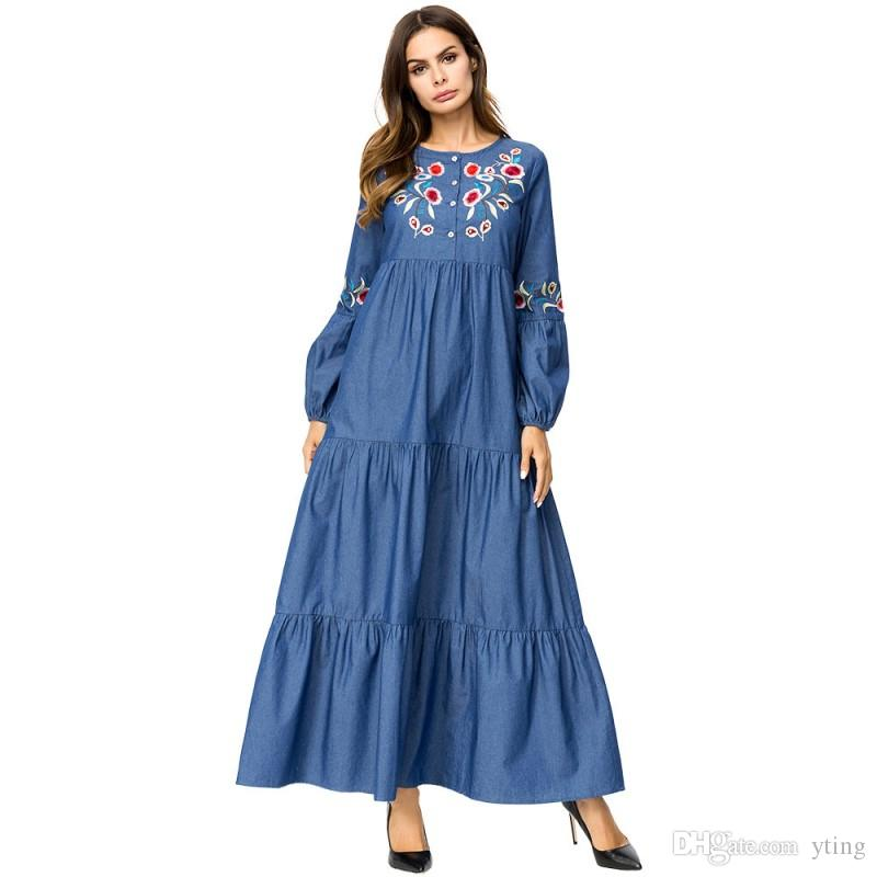 018a0b5d416 Autumn Women S New Dresses European And American Tall Slim Large  Embroidered Denim Dress Plus Size M 4XL Junior Cocktail Dresses Gold Party  Dresses From ...