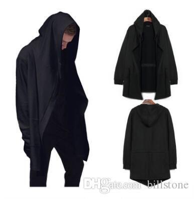Fashion Men Hooded Sweatshirts Hip Hop Mantle Hoodies Jacket Long Sleeve Cloak Male Coat Outwear Moleton Masculino
