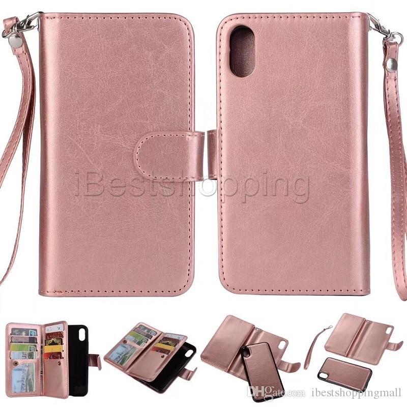아이폰 11 프로 맥스 X가 8 7 6S 플러스 삼성 S8 S9 플러스 주 8 9 2 1 자석 분리 지갑 케이스 카드 슬롯 사진 프레임 가죽 커버