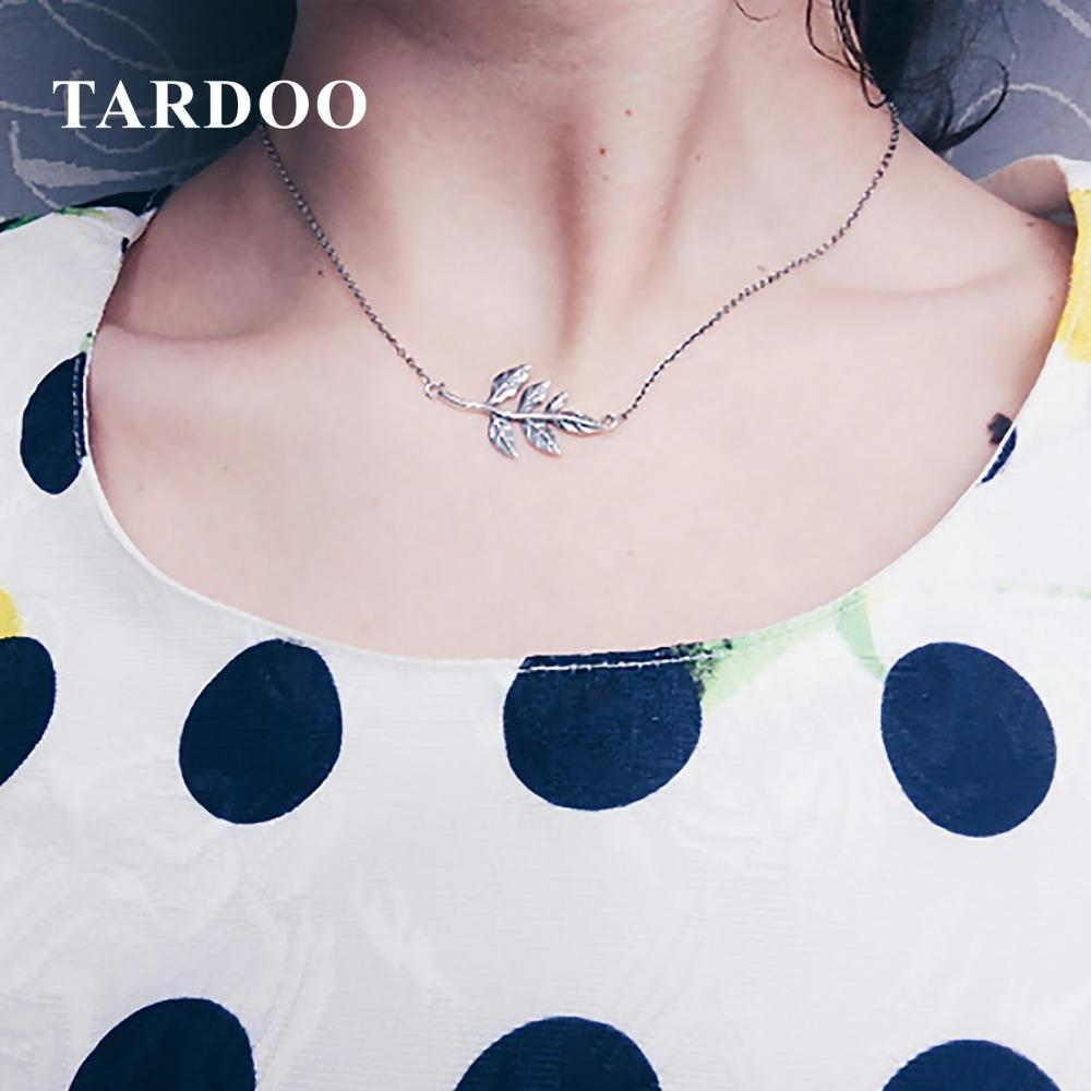 Tardoo Original 925 Sterling Silver Necklaces for Women Leaf Pattern Pendant Dazzing Unique Necklaces Brand Fine JewelryY1882803