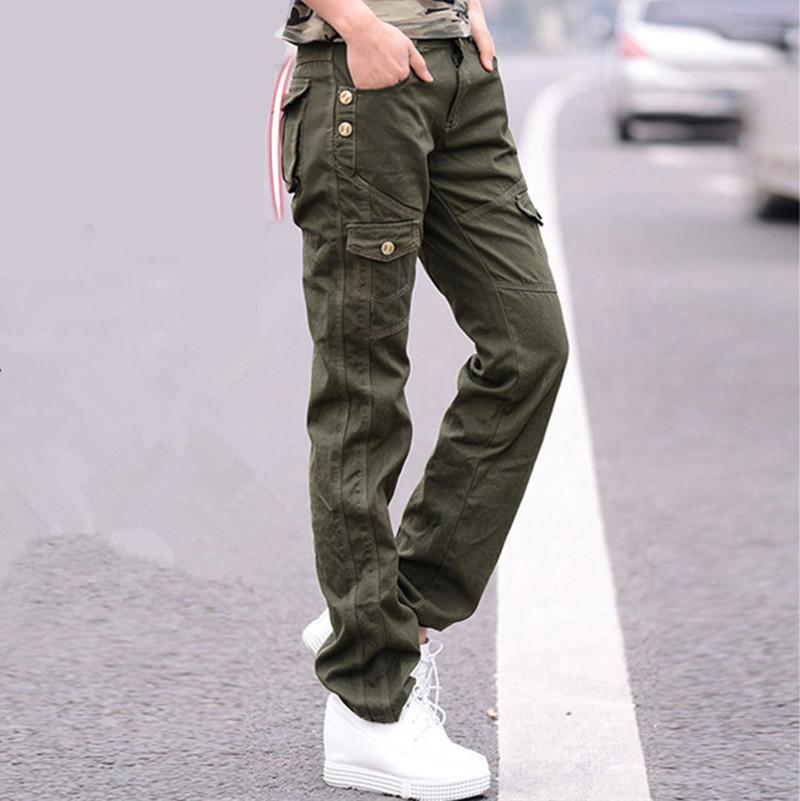 fe85e1dfbdb2d 2019 Women Military Cotton Cargo Pants Ladies Casual Winter Loose Trousers  Army Green Plus Size Camouflage Pants Females Black From Herish, $65.33 |  DHgate.