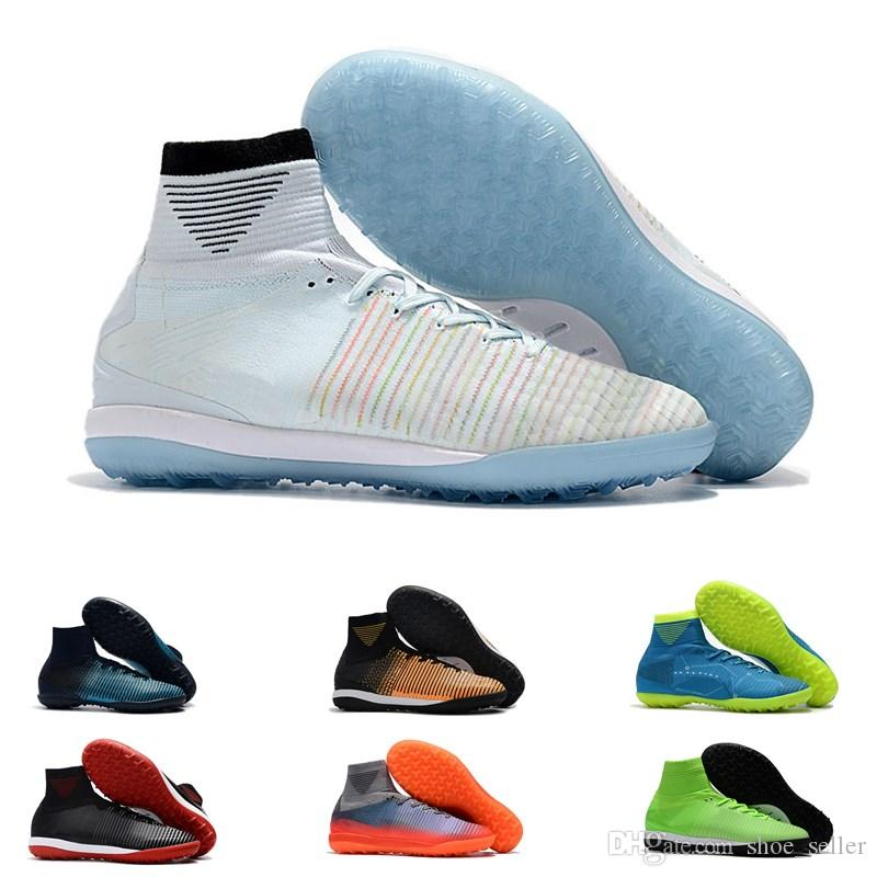 4f95acb2b1c Turf Soccer Shoes Mens Original Mercurial Superfly V CR7 Cleats For Kids  And Womens Youth High Ankle TF IC Football Boots Indoor Size 39-45 Soccer  Cleats ...