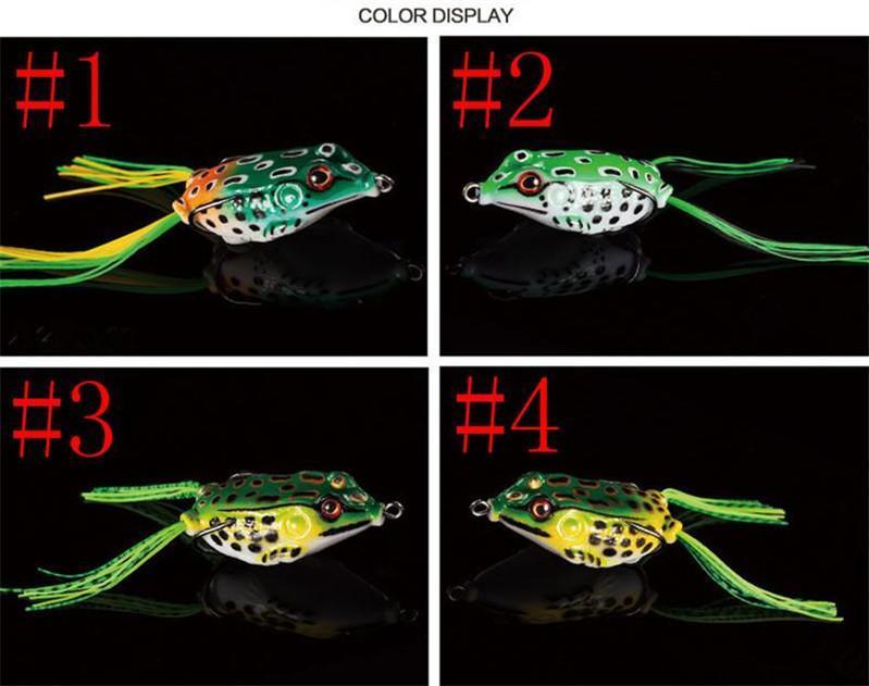 Caucho suave Simulación Ray Frog Snakehead cebo de pesca 4.5cm-8g 5cm-11g 5.5cm-14g Colores de mezcla Rana en caja Gancho de señuelo