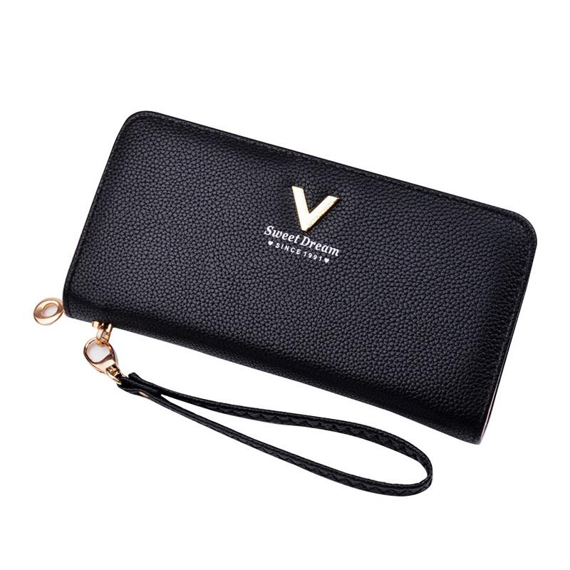 4437140988b1 NIBESSER 2018 Women Solid Long Purse PU Leather Wallet Lady Handbag With  Wrist Strap Phone Holder Clutch Bag Hot