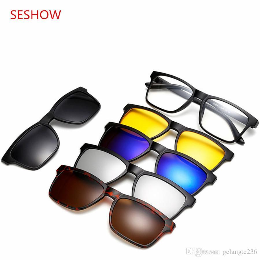 93ad28cf20 5 Lens Male Eyeglasses Frame Full Frame Glasses Frame Belt Magnet ...