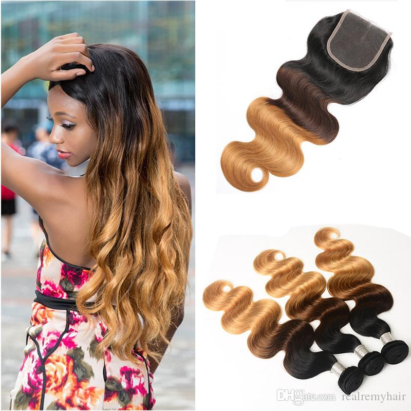 Brazilian Body Wave Human Hair Weave Bundles with Closure 4PCs/Lot Ombre 3 Tone Pre-Coloed Honey Blonde Brown Remy Hair Extensions