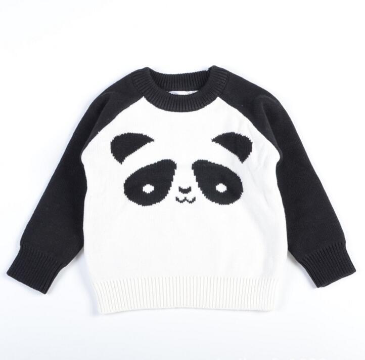 419656aa8bcc 2017 New Warm Autumn Winter Cute Knit Panda Print Kids Baby Boys ...