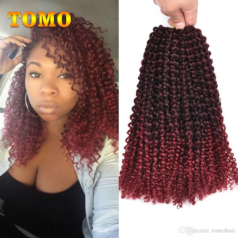 2019 Tomo Ombre Brown Or Burgundy Crochet Braids Hair Synthetic 12
