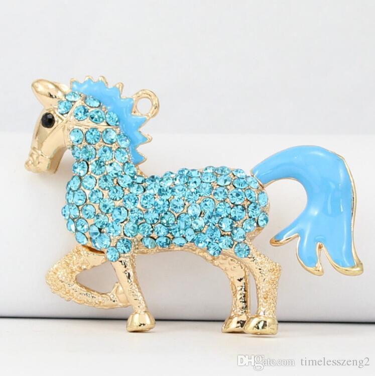 크리스탈 열쇠 고리와 함께 숙련 된 제조 큰 꼬리 말 열쇠 고리 귀여운 금속 열쇠 고리 3 색