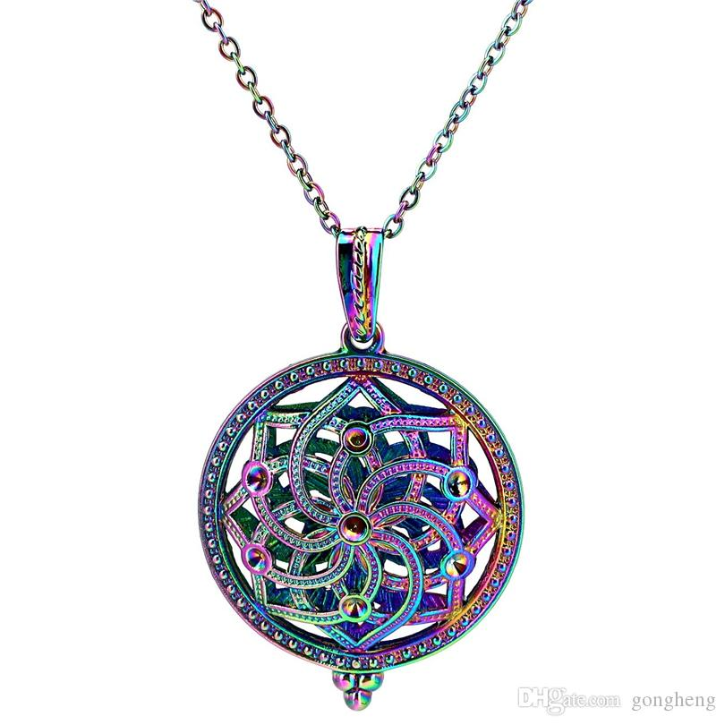2019 C972 Rainbow Color Round Magnet Lotus Flower Beads Cage Pendant