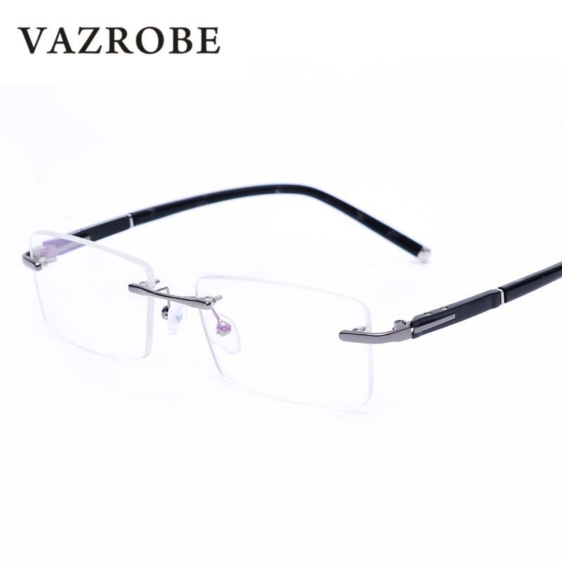 2018 Vazrobe Rimless Gray Mens Glasses Frame Spectacles For Man ...