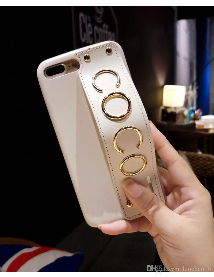 Luxury Leather Wristband Phone Case Elegant Fashion Brand Coco Letters Wrist Hand Strap Back Cover Bracket Holster for iPhone X 6s 7 8
