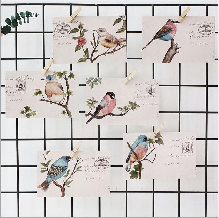 30Pcs Pack Retro Flower Birds Letter Mail Stamps Postcard Greeting Card Envelope Gift Birthday Message