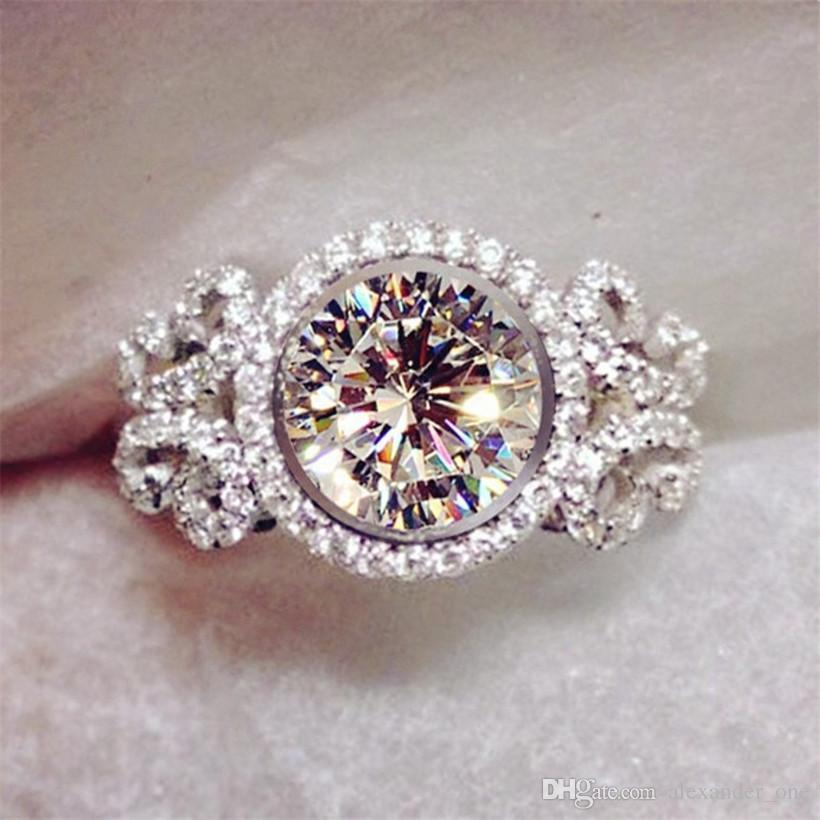 Grosshandel Marke Schmuck Damen 925 Silber Blumen Diamant Cz Ringe