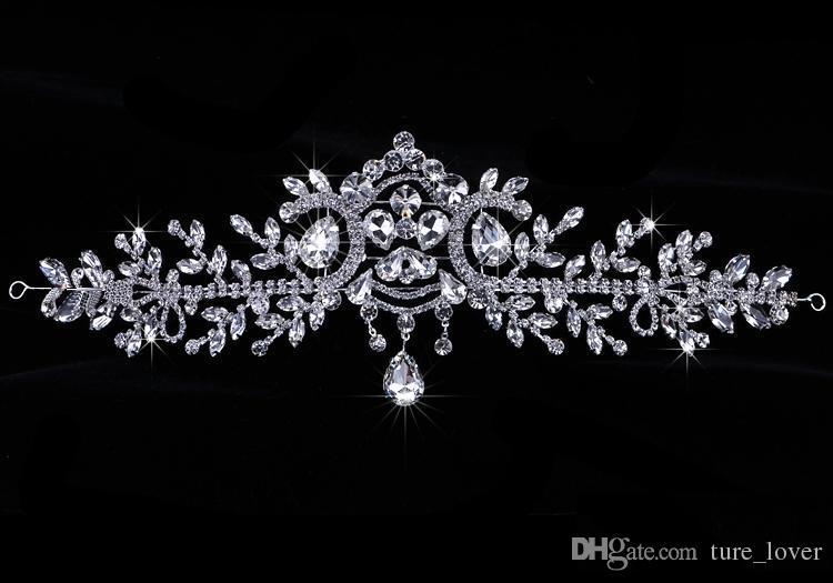 Mode Braut Kristall Hochzeit Tiaras Crown Haarschmuck Für Hochzeit Quinceanera Tiaras Und Kronen Strass Festzug Haarschmuck