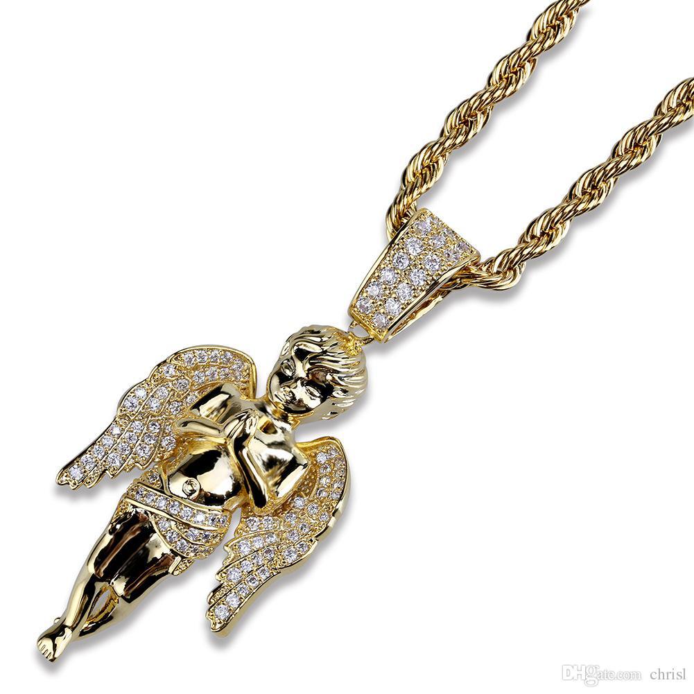 Hip Hop Angel Wings Halskette Gold Silber Farbe plattiert Iced Out Micro Pave CZ Stein Anhänger Halsketten mit Seilkette