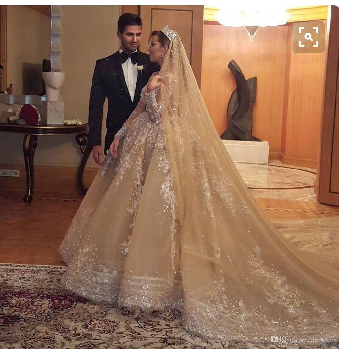 f4df107c4e0a Discount Royal Wedding Dresses With Appliqued Sequined A Line Champagne  Floor Length Ball Gown Wedding Dress With Matching Wedding Veils Bridal  Gowns ...