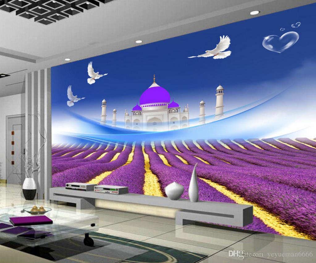 Großhandel Anpassen 3D Landschaft Tapete Lavendel Schlafzimmer ...