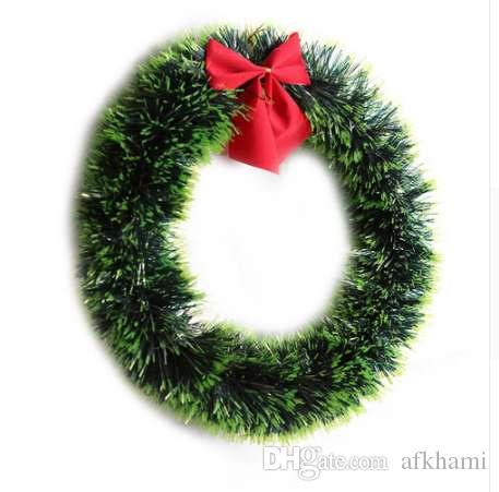 Christmas Green Wreath Decorative Garland With Bowknot Home Decor