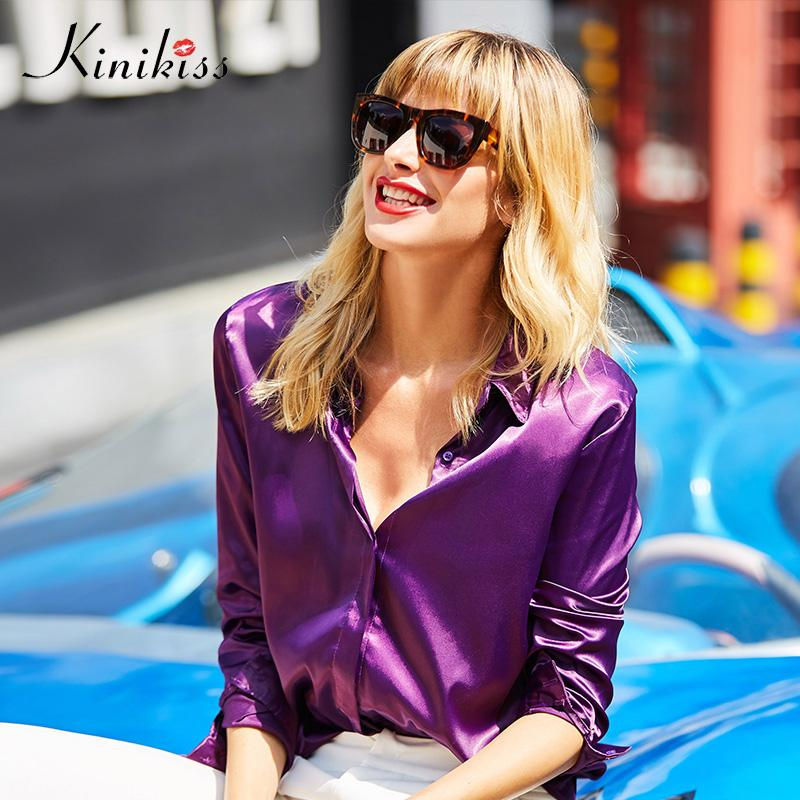 b256c9fa23c086 2019 Kinikiss Women Satin Purple Blouses Shirts Tops Fashion Model Color  Cool Ladies Blouse Office Long Sleeve Turn Down Collar Shirt From Bishops,  ...