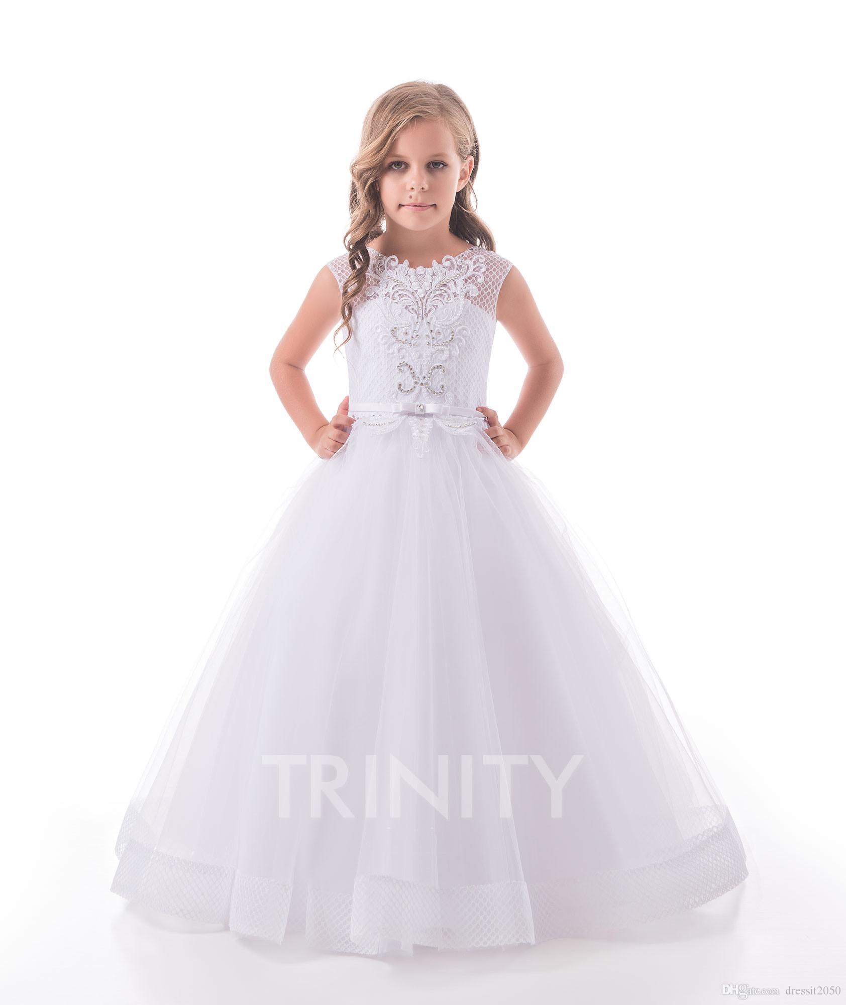 b0ffb9e23494e Pretty White Lace/Tulle Jewel Applique Flower Girl Dresses Girls' Pageant  Dresses Holidays/Birthday Dress/Skirt Custom Size 2-14 DF720475