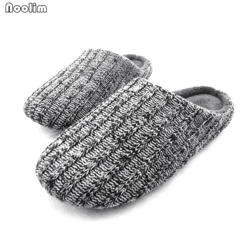 23b8fe8a01b23e Men Warm Slippers Solid Winter Woolen Wrap Toe Footwear Home Shoes For Men  Knitted Furry House Bedroom Slipper Shoes Dress Shoes Wedge Shoes From ...
