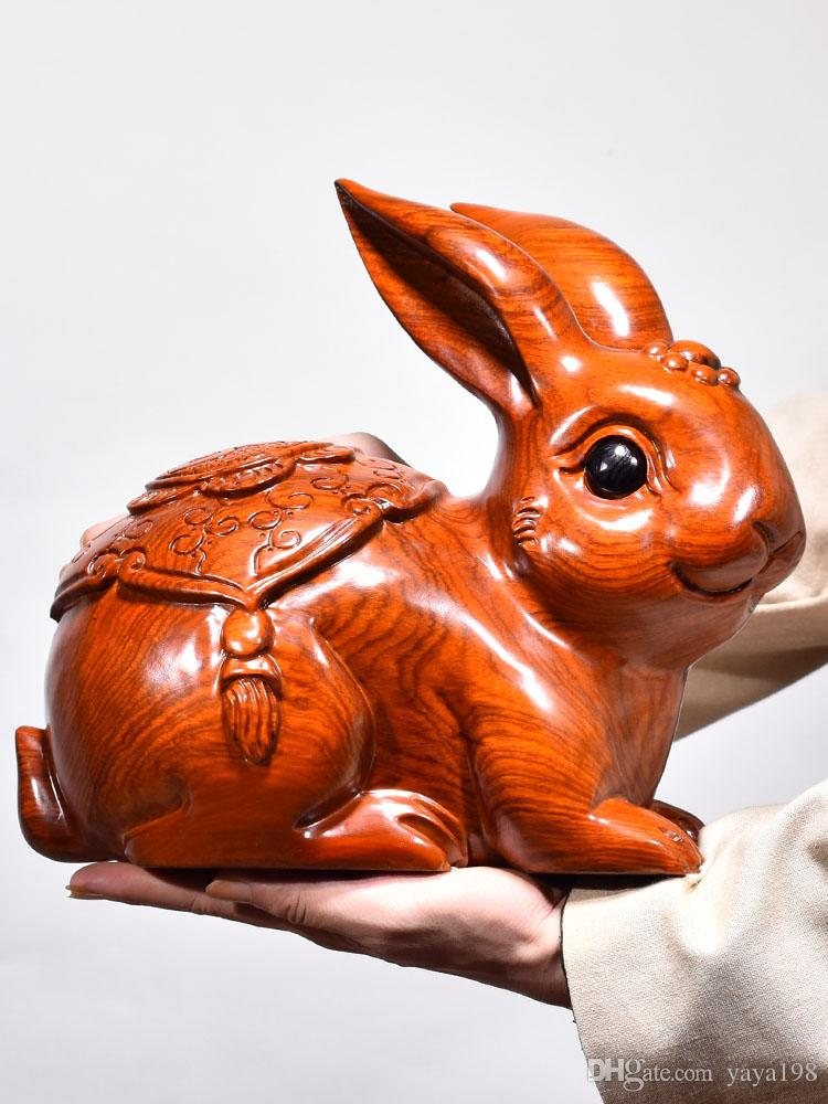 Huanghuali solid wood carving rabbit ornaments animal 12 Zodiac redwood home living room gift