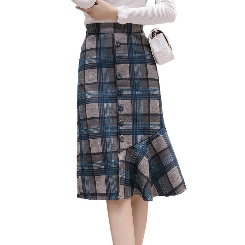 1a77e9b5092365 2018 New Arrival Plaid Skirts Women Autumn Winter High Waist Button Wool  Pencil Skirt Plus Size Elegant Midi Skirt faldas saia