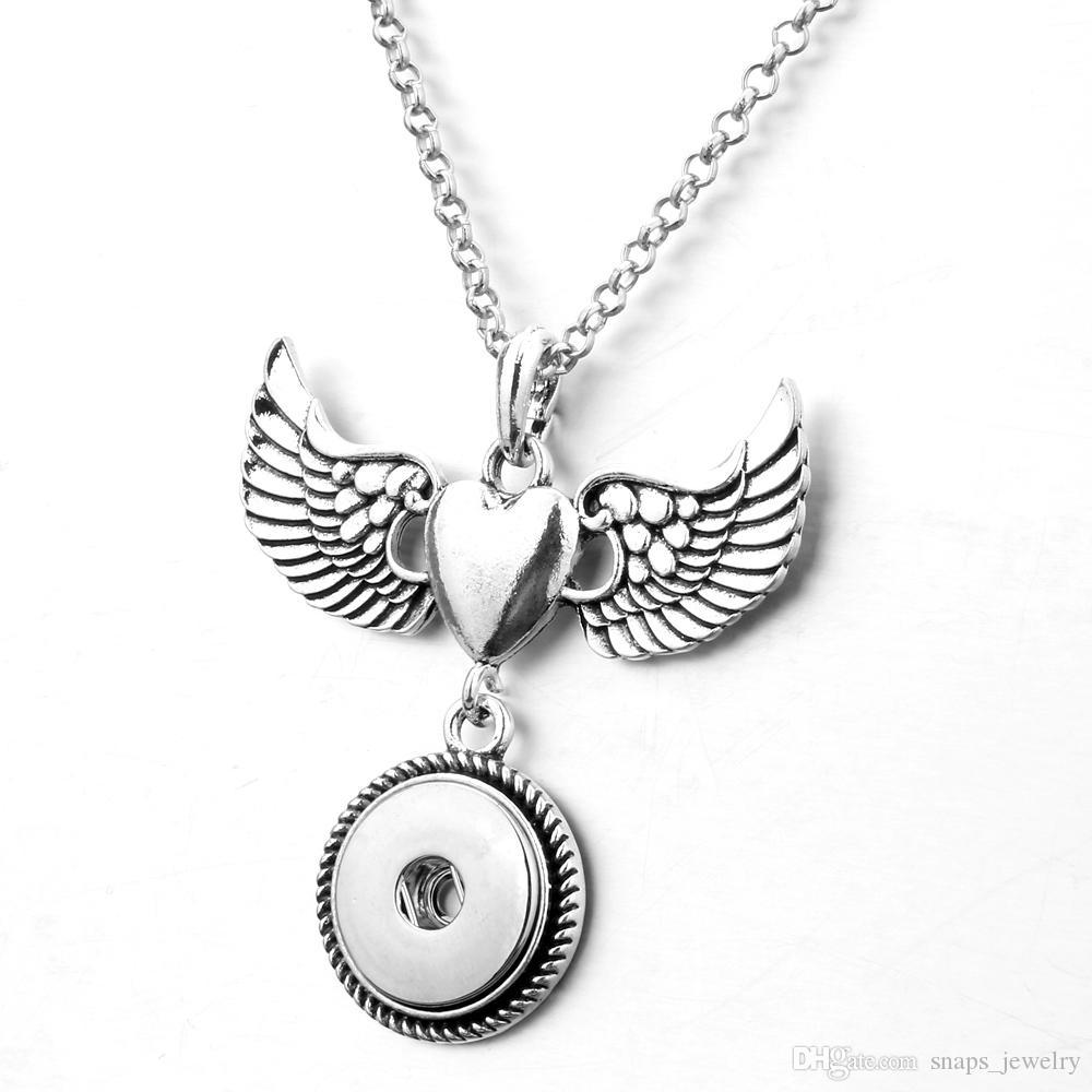 c85fb997401e Compre Nuevo Collar Alas Alas De Botón De Bohemia Plata Geométrica DIY  Intercambiables Botón De 18 Mm Joyería Mujeres A  1.51 Del Snaps jewelry
